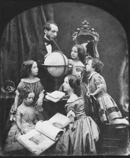 ANTOINE FRANCOIS CLAUDET. The Geography Lesson, c. 1850. Daguerreotype.